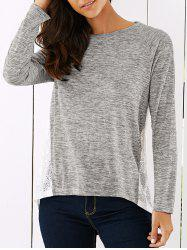 Lace Splicing Loose Fit T-Shirt -