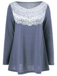 Lace Splicing Pleated T-Shirt - BLUE GRAY M