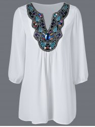 Embroidered Maxican Peasant Chiffon Blouse - WHITE XL