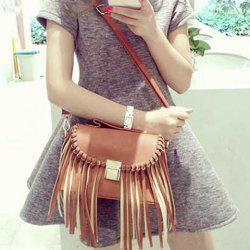 Hasp Leather Fringe Crossbody Bag
