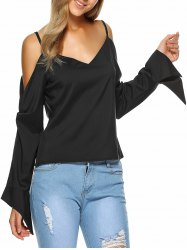 Irregular Cold Shoulder Long Sleeve Blouse