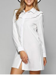 Long Sleeve Agaric Edge Mini Shirt Dress
