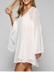 Slip Dress and Bell Sleeve Chiffon Beach Smock Dress Twinset - WHITE