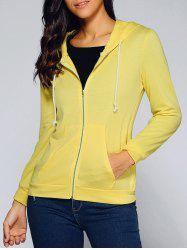 Drawstring Hooded Front Pocket Hoodie - YELLOW XL