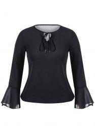 Plus Size Flare Sleeve Chiffon Top - BLACK 5XL