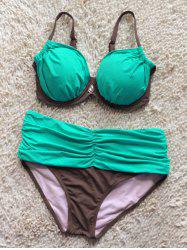 Color Spliced Ruched Bikini Set - LIGHT GREEN 2XL