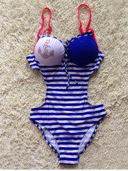 Beaded Striped Spliced One-Piece Underwire Push Up Swimsuit -