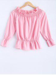 Off-The-Shoulder Frilled Blouse -
