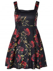 Square Neck Flower Print Fit and Flare Dress -
