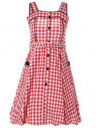 Vintage Belted Checked Button Down Dress -