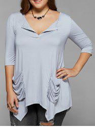 Ruched Pockets Asymmetrical Blouse - LIGHT GRAY XL