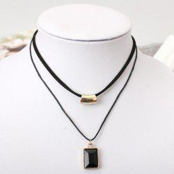 Double Layer Geometry Faux Gem Necklace