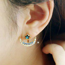 Rhinestone Moon Star Stud Earrings - BLUE