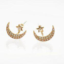 Rhinestone Moon Star Stud Earrings