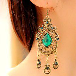 Retro Hollowed Waterdrop Faux Gem Boucles d'oreilles - Vert