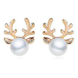 Faux Pearl Deer Horn Stud Earrings - GOLDEN