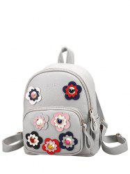 Color Block Flowers Rivets Backpack -