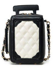 Chain Luggage Shape Argyle Pattern Crossbody Bag -