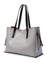 PU Leather Drawstring Magnetic Closure Shoulder Bag - GRAY