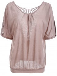 Scoop Neck Hollow Out  Batwing Sleeve T-Shirt -