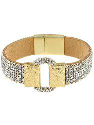 Rhinestone Faux Leather Alloy Bracelet