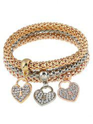 3 PCS Brief Rhinestoned Heart Bracelets - GOLDEN