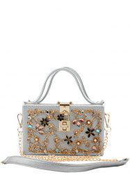 Metal Flowers Rhinestones Evening Bag -