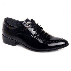 Metal Patent Leather Lace Up Formal Shoes - BLACK 44