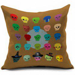 Colorful Skulls Pattern Halloween Pillow Case -