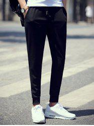 Brief Style Drawstring Waist Skinny Jogger Pants - BLACK