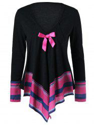 Bowknot Embellished Asymmetrical T-Shirt