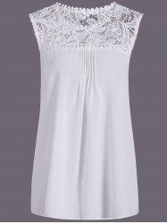 Openwork Lace Spliced Shirred Tank Top - WHITE