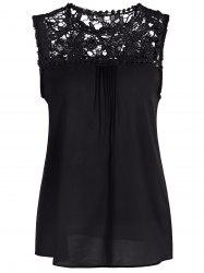 Openwork Lace Spliced Shirred Tank Top -