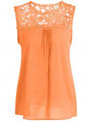 Openwork Lace Spliced Shirred Tank Top - ORANGE