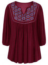 Floral Embroidered Maxican Peasant Blouse -