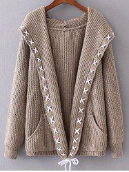 Hooded String Cable Knit Cardigan