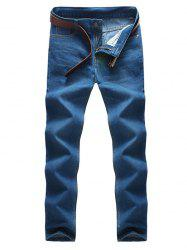 Pocket Rivet Zipper Fly Label Jeans - BLUE 42