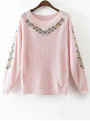Round Neck Embroidered Sweater - PINK L
