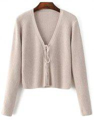 Cropped Lace Up Sweater - COMPLEXION