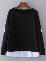 Layered Hem Star Sweatshirt - BLACK L