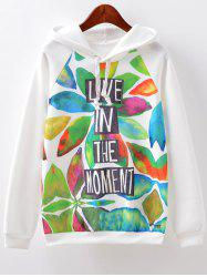 Letter Print Hoodie - WHITE L