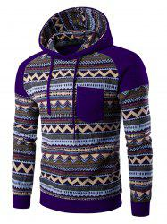 Color Block Tribal Printed Pocket Hooded Raglan Sleeve Hoodie