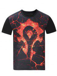 Round Neck 3D Magma Print Short Sleeve T-Shirt - BLACK 3XL