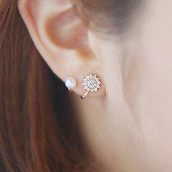 Faux Pearl Rhinestone Floral Clip Earrings