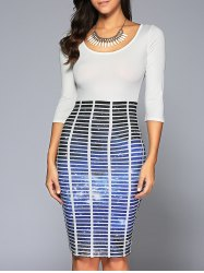 Striped Galaxy Pattern Bodycon Dress - WHITE