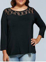 Plus Size Lace Patchwork T-Shirt