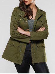 Flap Pockets Drawstring Utility Jacket - ARMY GREEN