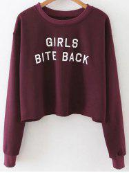 Cropped Drop Shoulder Sweatshirt - WINE RED