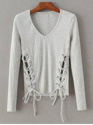 V Neck Ribbed Jumper -