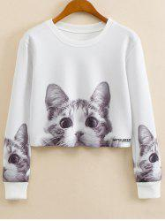 Crew Neck Cartoon Print Sweatshirt